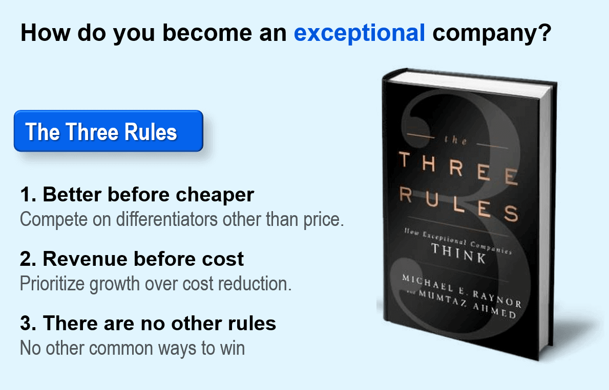 The book, The Three Rules: How Exceptional Companies Think