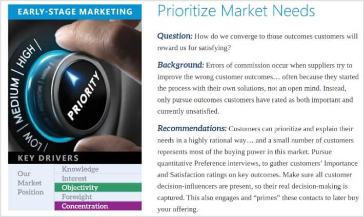Example of recommendations from the B2B MarketView report