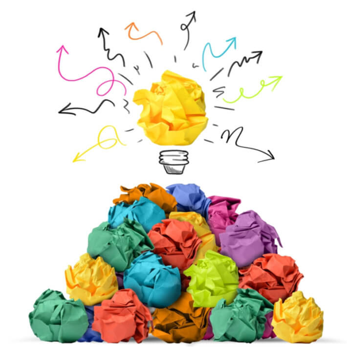 Idea generation includes both divergent and convergent thinking. We get the best ideas by beginning with as many as possible.