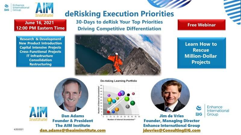 Free Webinar Jun 16, 2021: deRisking Execution Priorities